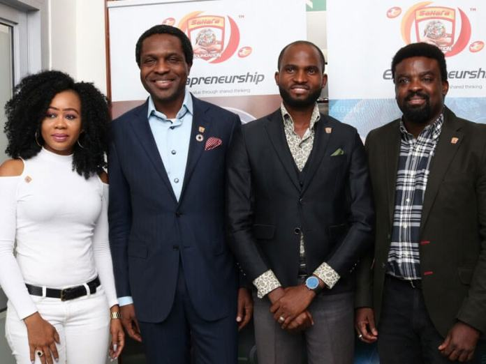 L-R: Chinenye Balogun, first runner-up, Sahara Group Grooming Film Extrapreneurs Competition, Tonye Cole, Executive Director/Co-founder, Sahara Group, Joseph Duke, Winner, Sahara Group Grooming Film Extrapreneurs Competition and Kunle Afolayan, ace film maker.