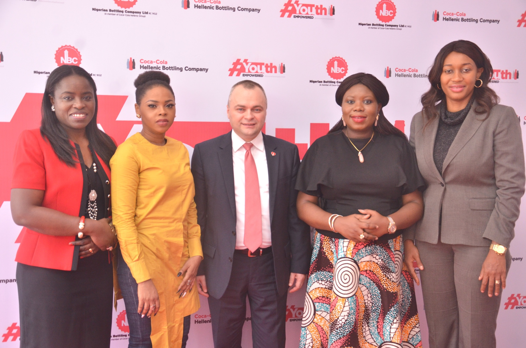 Pic 1 L-R: Mrs. Sade Morgan, Director, Legal, Public Affairs and Communication, Nigerian Bottling Company Limited (NBC); Chidinma Ekile, Coke Studio Celebrity Artiste; Mr. Dragos Ion, representing the Managing Director, NBC, Mr. George Polymenakos; Mrs. Toyosi Akerele-Ogunsiji, Founder, Rise Networks and Mrs. Amaka Onyemelukwe, Public Affairs and Communications Manager, Coca-Cola Nigeria during the Grand Launch of the Nigerian Bottling Company Limited 'Youth Empowered Initiative' held in Lagos yesterday.