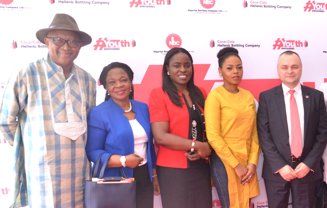 L-R: Mr. Nkanta George Ufot, representing the Minister of Information and Culture, Alhaji Lai Mohammed; Mrs. Olabisi Boco, representing the Deputy Governor, Lagos State, Dr. Oluranti Adebule; Mrs. Sade Morgan, Director, Legal, Public Affairs and Communication, Nigerian Bottling Company Limited (NBC); Chidinma Ekile, Coke Studio Celebrity Artiste and Mr. Dragos Ion, representing the Managing Director, NBC, Mr. George Polymenakos during the Grand Launch of the Nigerian Bottling Company Limited 'Youth Empowered Initiative' held in Lagos yesterday.