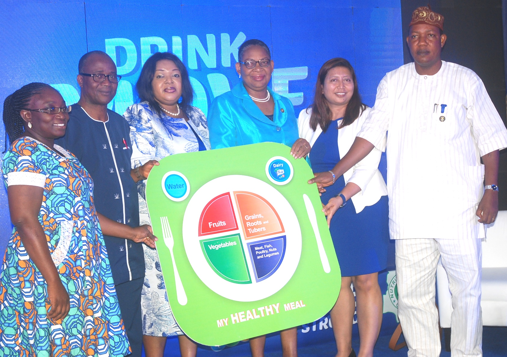 L-R; Dr. Folake Samuel, Head Scientific Committee, Nutrition Society of Nigeria; Dr. Batholomew Brai, National President, Nutrition Society of Nigeria; Mrs. Ore Famurewa, Corporate Affairs Director, FrieslandCampina WAMCO Nigeria Plc.; Mrs. Adebunmi Adekanye, Permanent Secretary, Ministry of Education, representing Dr. Oluranti Adebule, Deputy Governor of Lagos State; Zatur Hassim, Marketing Manager IFT, FrieslandCampina WAMCO Nigeria Plc. and Mr. Ganiu Okanlawon, Special Adviser to the Governor on Food Security during the kick-off ceremony for Peak 456 Drink Move Be Strong Pre-School Programme held in Lagos.