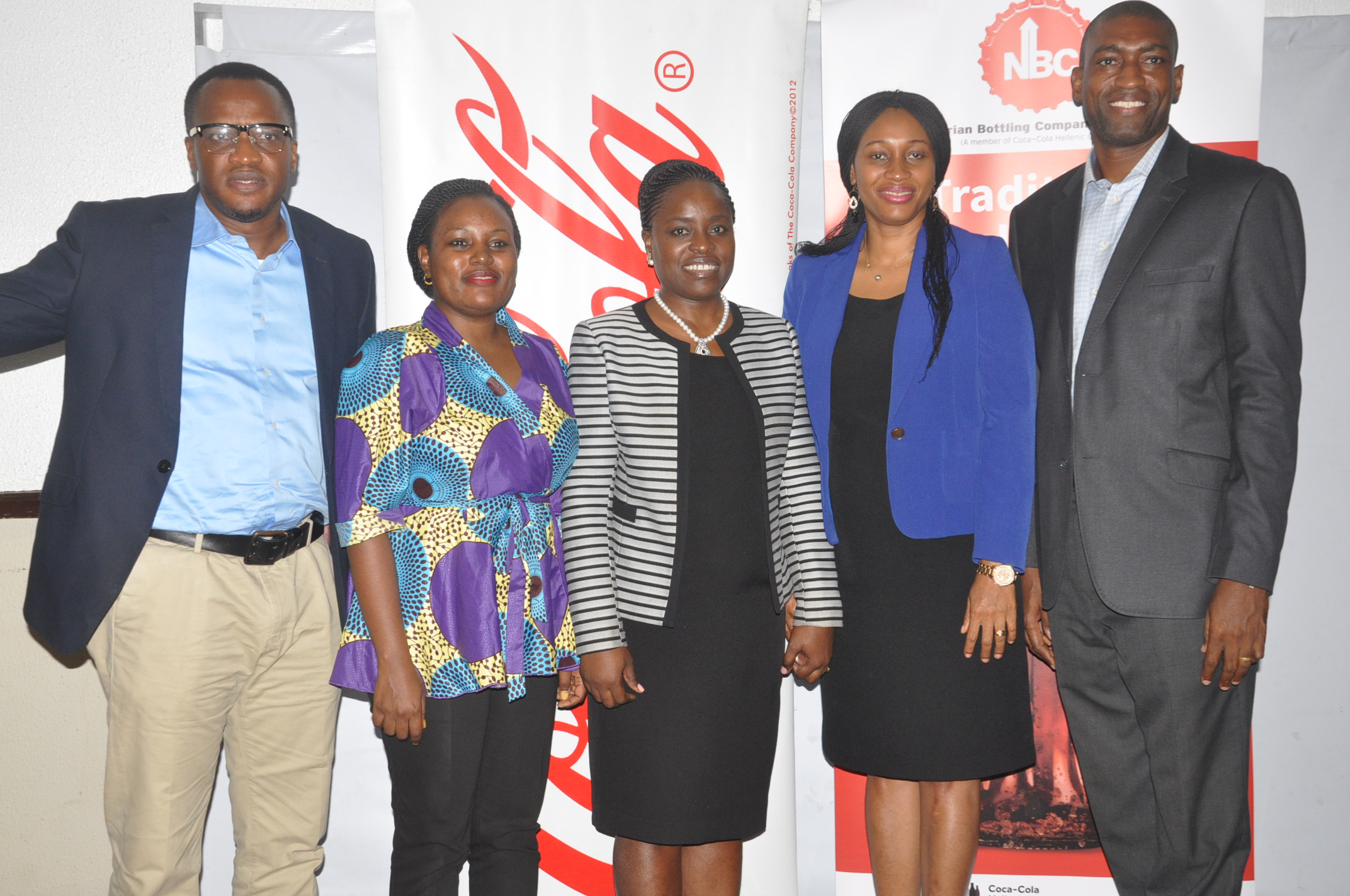 L-R; Community Affairs Manager, Coca-Cola, Emeka Mba, Communications Manager, Coca-Cola, Linda Okondo, The Director, Legal, Public Affairs and Communications, Nigerian Bottling Company Limited, (NBC), Sade Morgan, Public Affairs and Communications Manager, Coca-Cola, Nwamaka Onyemelukwe and Corporate Communications Manager, Nigerian Bottling Company Limited,  Akomen Omijeh  at the NBC/Coca-Cola system media parley held on Monday in Lagos.