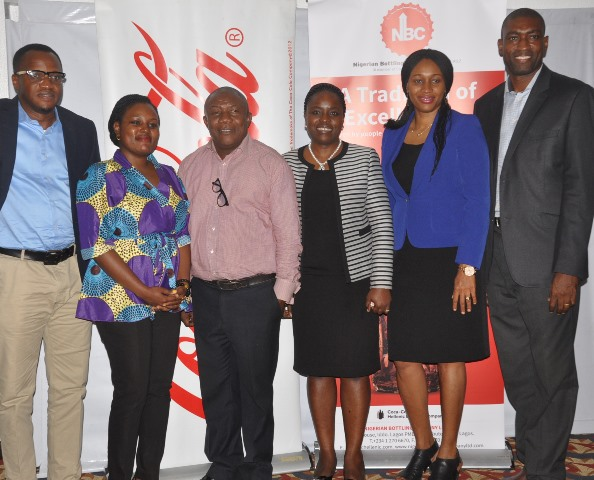 L-R; Community Affairs Manager, Coca-Cola, Emeka Mba, Communications Manager, Coca-Cola, Linda Okondo, Editor, Brands and marketing, BusinessDay, Daniel Obi, The Director, Legal, Public Affairs and Communications, Nigerian Bottling Company Limited, (NBC), Sade Morgan, Public Affairs and Communications Manager, Coca-Cola, Nwamaka Onyemelukwe and Corporate Communications Manager, Nigerian Bottling Company Limited,  Akomen Omijeh  at the NBC/Coca-Cola system media parley held on Monday in Lagos.