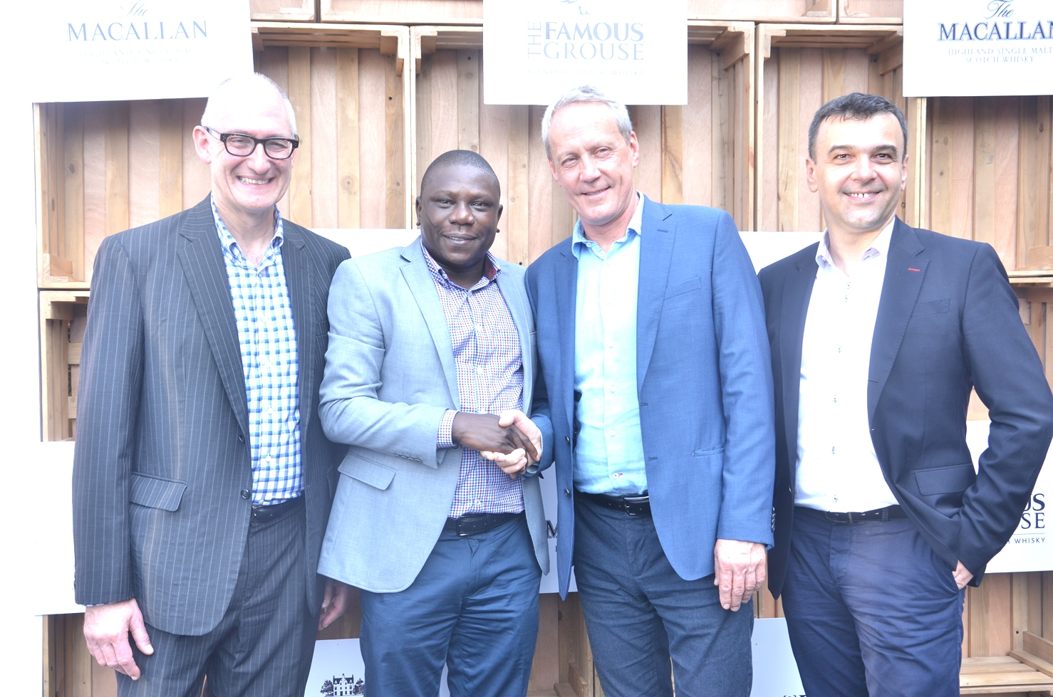 L-R, Mr. Ken Grier, Creative Director (Macallan), Edrington; Mr. Idowu Adedoyin, Director, Premium Spirit Nigeria; Mr. Derek Brown, Regional Director (Africa), Edrington and Mr. Dan Fratila, Sales Director, Nigerian Bottling Company Limited (NBC) during the Media Launch of Premium Spirit Nigeria in Lagos