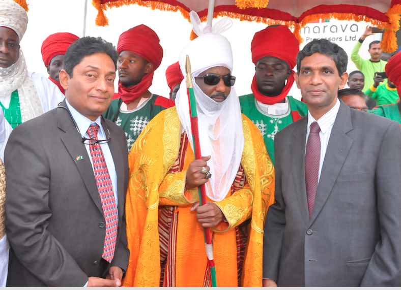 L-R; The Chairman, FullMark Group, Mr. Sriram Venkateswaran; the Emir of Kano, HRH Sanusi Lamido Sanusi II and the Indian High Commissioner to Nigeria, Mr. Shri B.N Reddy during the inauguration of the multi-million naira state-of-the-art Amarawa Rice Mill located at Amarawa Village, in Gezawa Local Government Area of Kano State recently