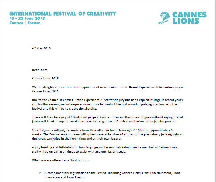 Noahs ark md lanre adisa emerges first nigerian cannes lions juror see full letter here invitation letter lanre adisa stopboris Image collections